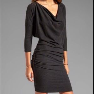 James Perse L/S Draped Neck Fitted Dress